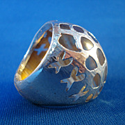 LUCITE /Silver Overlay Ring-Rare