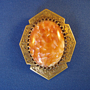 Art Nouveau Coral Colored Art Glass Brooch