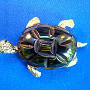"""CADORA"" Bakelite Turtle Pin"