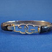 Black Snakeskin Bracelet GG Clasp