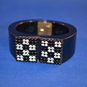 Clamper  Bracelet - Black Art Deco Style