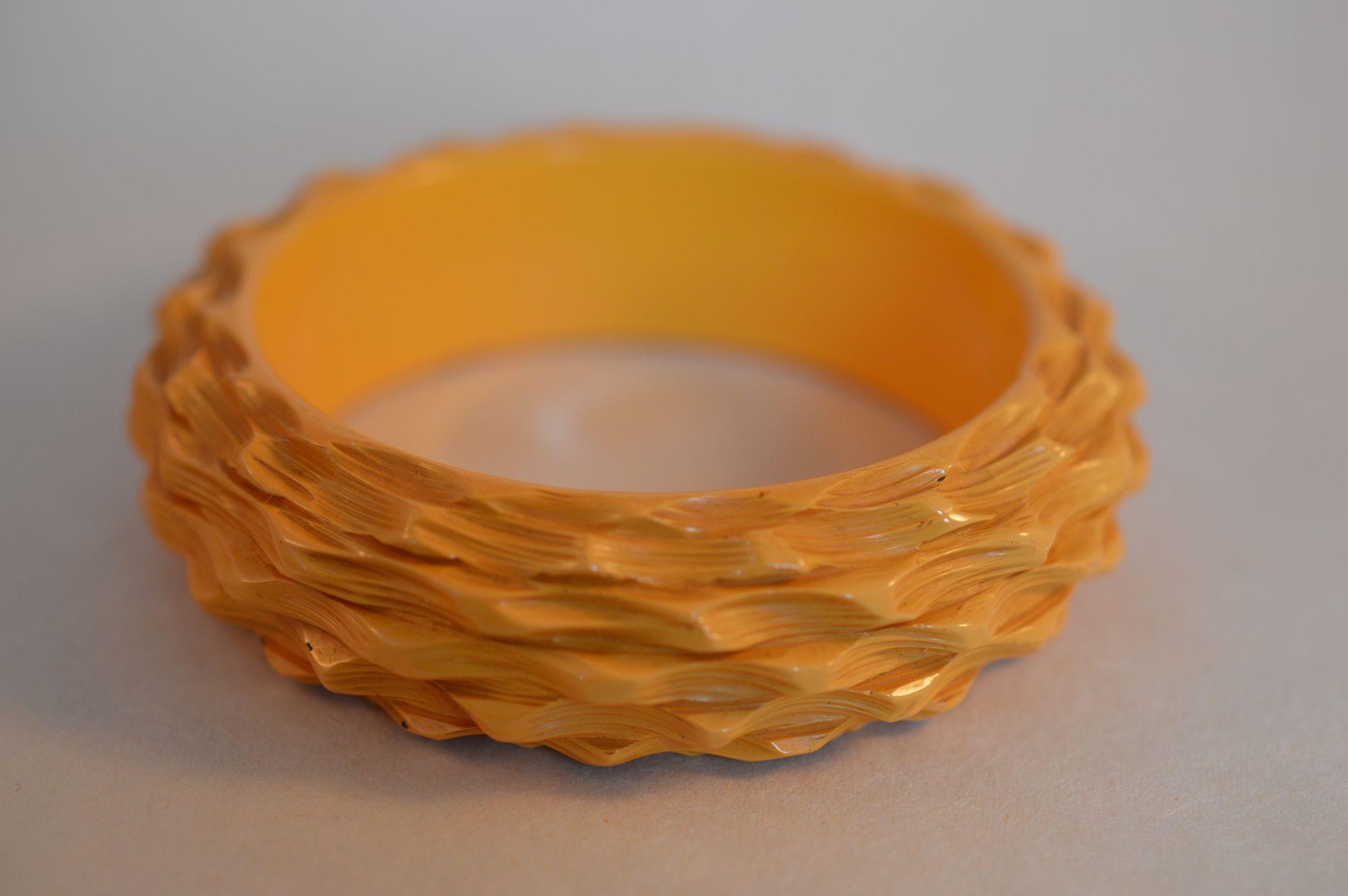 Carved Basket Weave Bakelite Bracelet