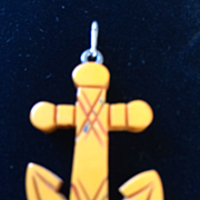Bakelite - Carved Anchor Charm or Pendant
