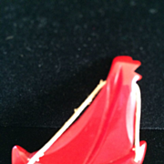 Red Bakelite Sailboat Pin