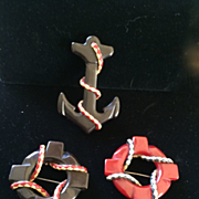 Bakelite Anchor and Life Rings Pins