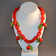 Red Cherry Plastic Necklace
