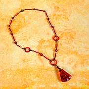 Czechoslovakia 1900's Red Glass Necklace