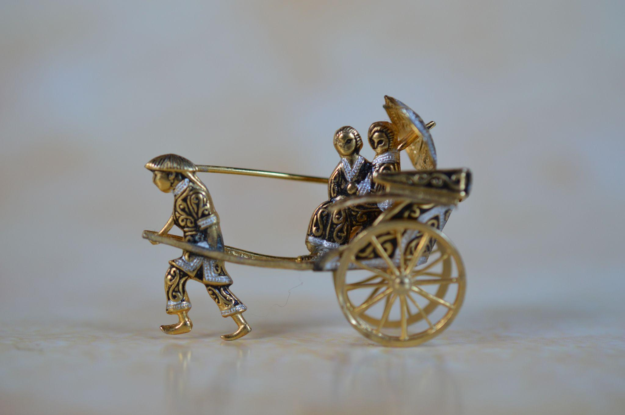 Rare Japanese Damascene Rickshaw Pin