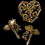 'Joseff' Cherubs Pin and Earring Set