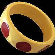 Polka Dot Bakelite Bangle Bracelet