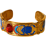 Egyptian Revival Scarab Cuff Bracelet