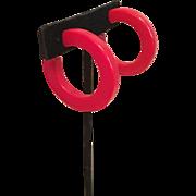 Red Bakelite Hoop Earrings