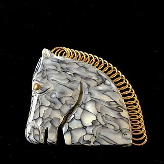 Galalith Horse Pin