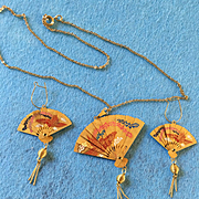 Oriental Fan Necklace and Earring Set