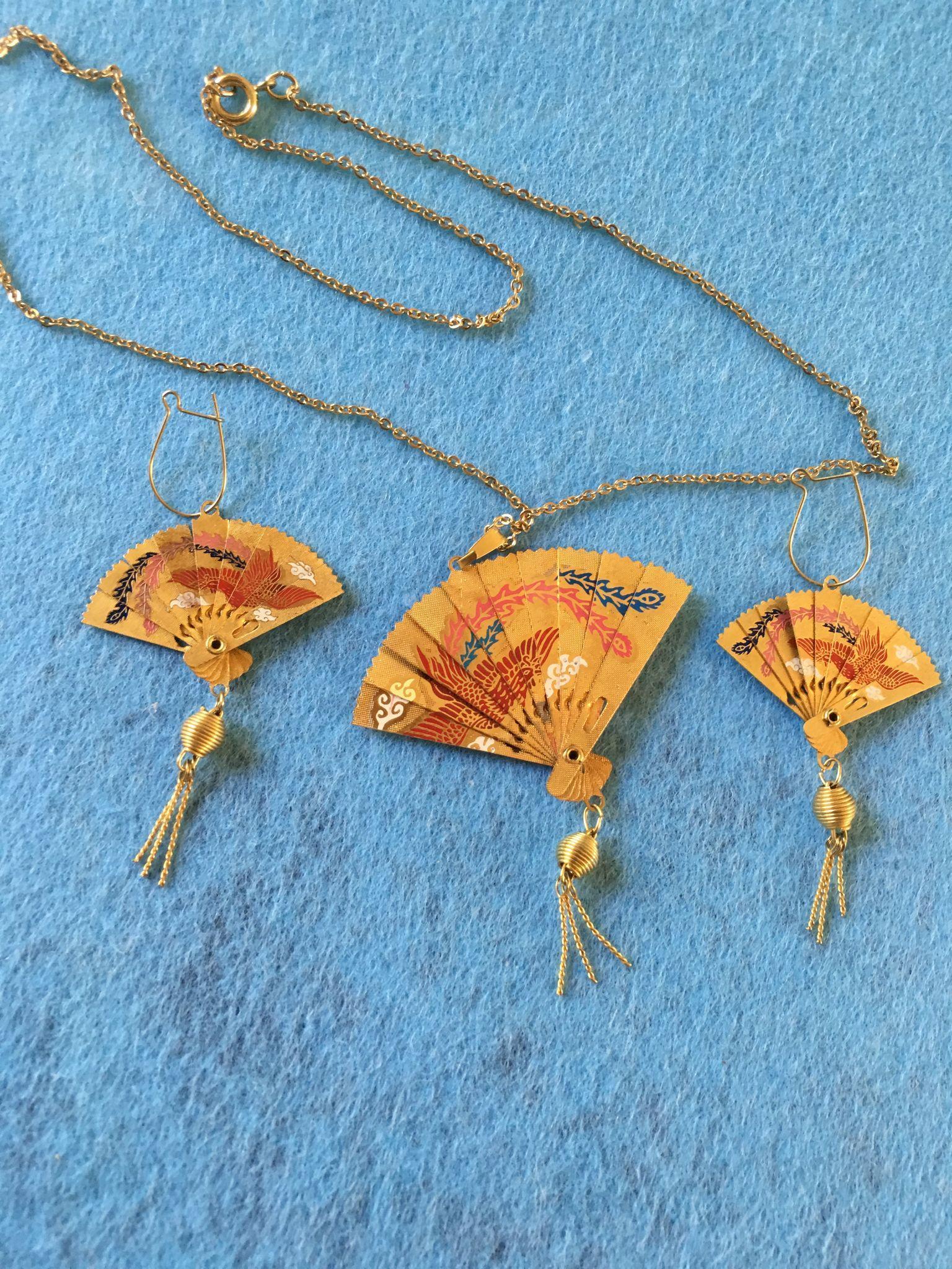 Oriental Fan Necklace and Earring Set