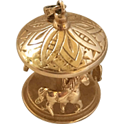 Vintage 14k Gold Moving Carousel Charm