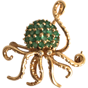 14K Emerald Octopus Pin