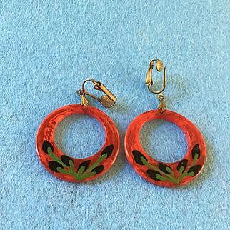 Celluloid Hoop Clip Earrings