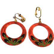 Celluloid Hoop Clip Earrings