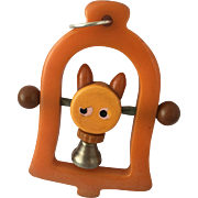 Bakelite Kitty in a Bell Crib Toy
