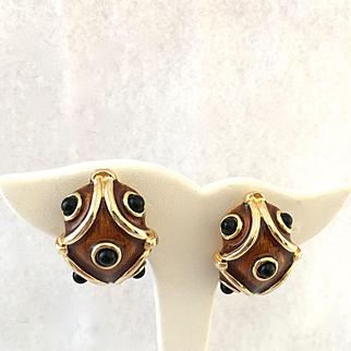 Maresco Guillloche Enamel Clip Earrings