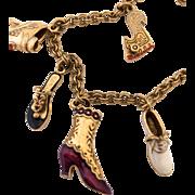 Enameled Shoe Charm Bracelet