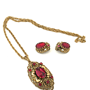West Germany - Filigree Necklace & Earrings Demi-parure