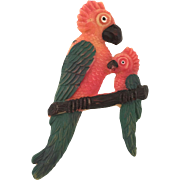 1920's Mother Parrot and Chick Pin