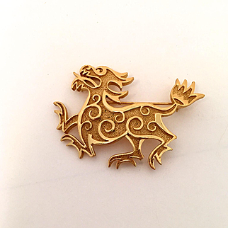 Crown Trifari Dragon Pin