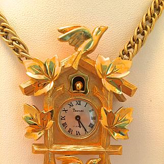 Trifari Cuckoo Clock Watch Necklace