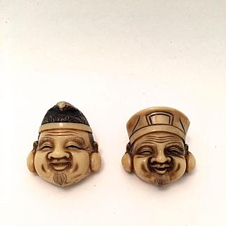 Oriental Man Smiling Faces Pins