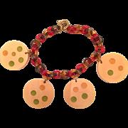 Polka Dot Bakelite Disc Charm Bracelet