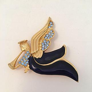 Enameled Angel Trumpeter Pin