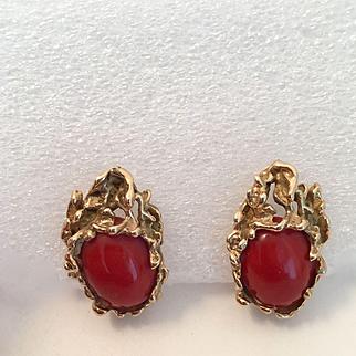 Karram 14K  Blood Coral Modernistic  Omega Back Earrings