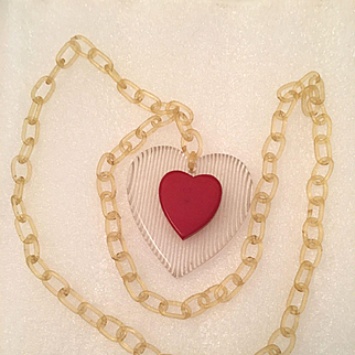 Valentines Day Bakelite Necklace, Red Heart