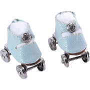 Pale Blue Center Snap Roller Skates for Ginny, Muffie and Others
