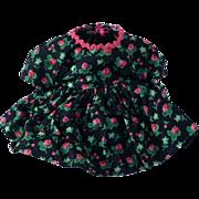 1950's Alexander-Kins Black Floral Dress by Madame Alexander