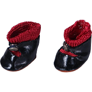 Black Oil Cloth Center Snap Shoes for Ginny Muffie and Others