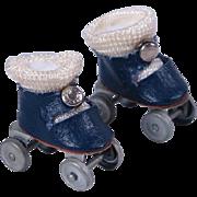 VHTF Navy Center Snap Oilcloth Roller Skates for 1950 Ginny Roller Skater by Vogue
