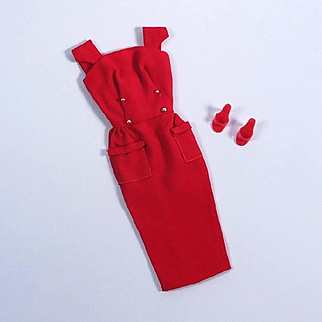 Vintage Barbie Red Sheath Sensation Dress #986 by Mattel