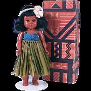 Vintage 8 Inch Hard Plastic Hawaiian Doll by Mapela's of Waikiki
