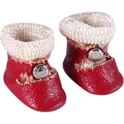 Vintage Red Oil Cloth Shoes with Center Snaps