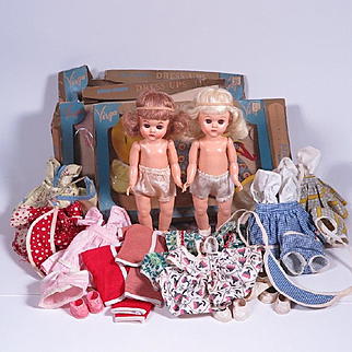 1950's 8 Inch Hard Plastic Virga Dolls with Original Outfits