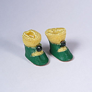 Vintage Oilcloth Center Snap Shoes for Ginny Muffie and Others