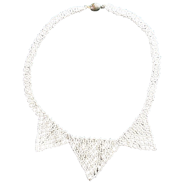Early white Seed bead necklace Tube catch and hook