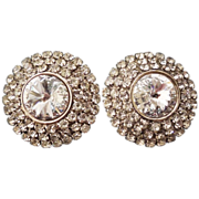 "Amazing  HUGE 1 3/4"" Clear Rivoli and Pave Rhinestone Clip Earrings!"