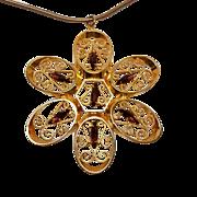 1970's Large Filigree and Rhinestone Flower pendant