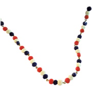 Patriotic glass bead Chain Wire necklace