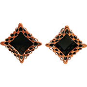 Modernist Renoir Copper Black Lace Earrings