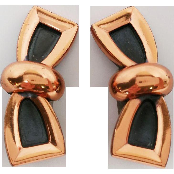 Renoir Copper Modernist Bow Design Clip Earrings